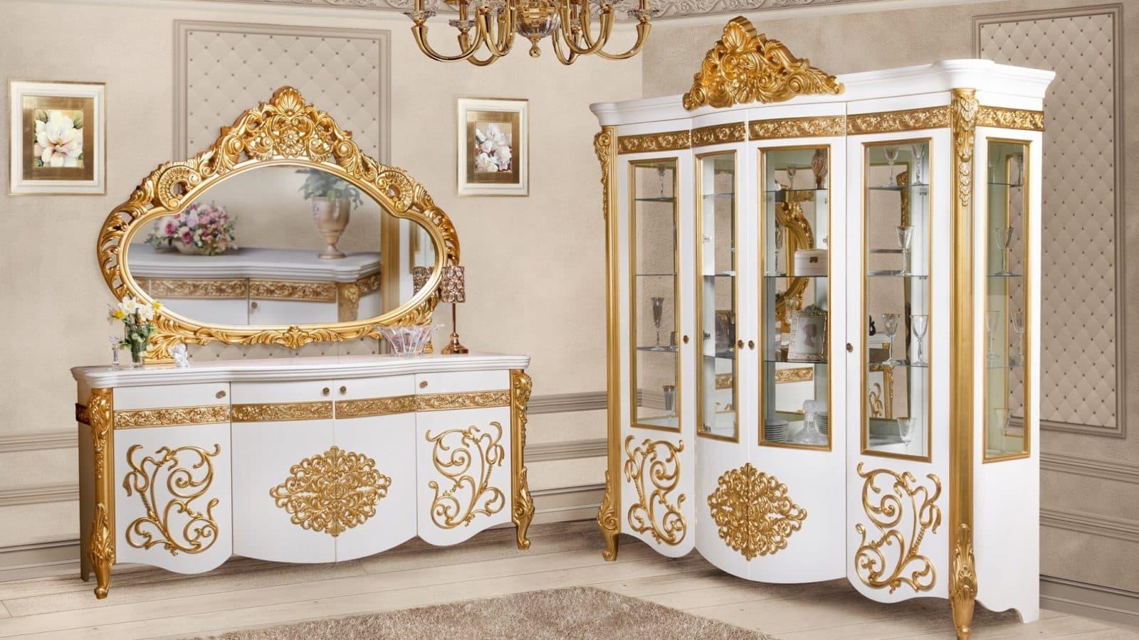 """Гостиная """"Маркиза"""" от производителя - фабрики мебели СКФМ в Москве. Комод, зеркало и сервант в классическом стиле. Оптом и в розницу со склада."""