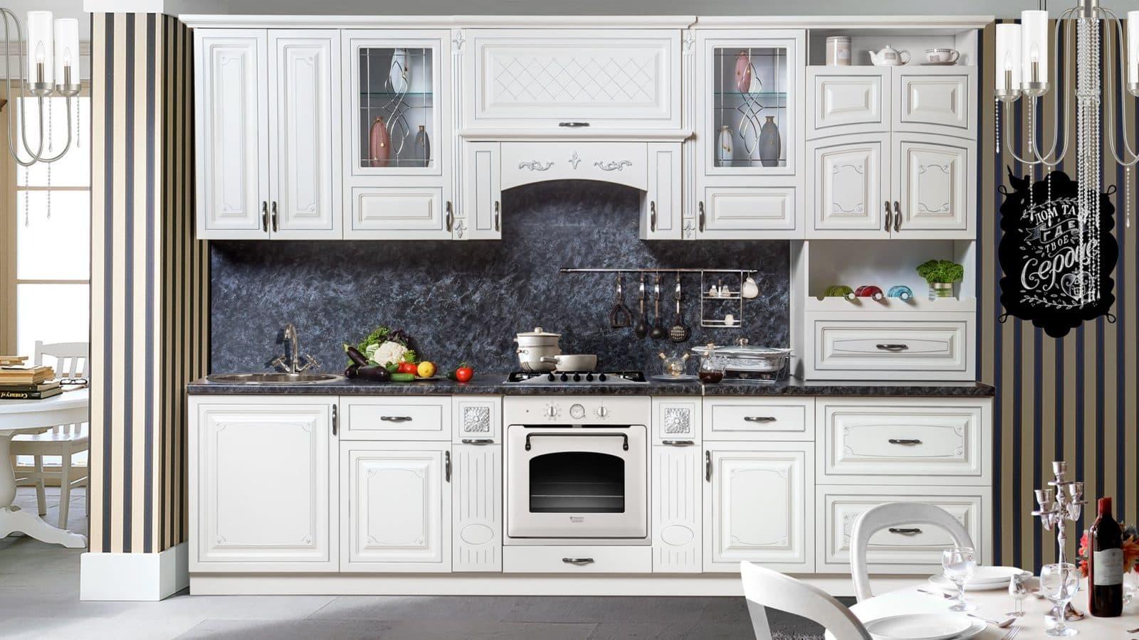 Кухня Прага 3.2 в серебре от производителя | Мебельная фабрика СКФМ